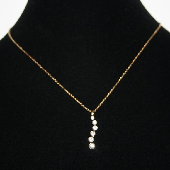 Beautiful gold and CZ stone drop necklace